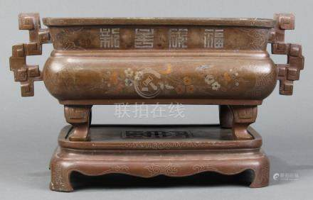 Vitenamese Hue three-colored inlaid bronze censer with stand, of rectangular form, the neck with the