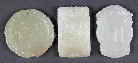 (lot of 3) Chinese small hardstone plaques: first, of rectangular form with fu-lions; second, a