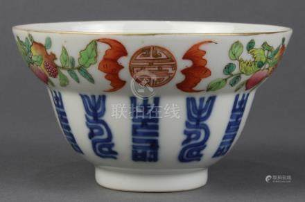 Chinese enameled porcelain cup, the exterior with a band of shou medallions flanked by bats