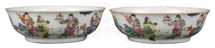 Pair of Chinese porcelain shallow bowls, the exterior depicting immortals with various attributes in