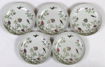 (lot of 5) Chinese porcelain plates, featuring a pair of birds amid pink peonies, base with Daoguang