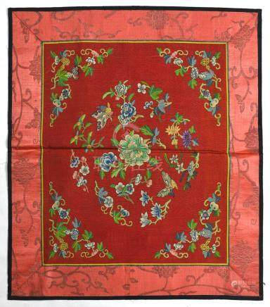 (lot of 2) Chinese textile panels: first, kesi woven with flowers and butterfly on a red ground;