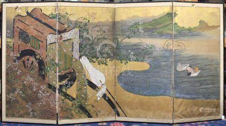 Japanese four-panel byobu screen, ink and colors on paper and gold foil, depicting a gissha (ox-cart