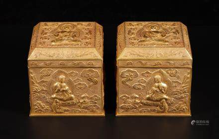 Gold Buddhist Relics Vessel with Buddhism Tale Grain from Liao Dynasty