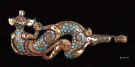 Silvering and Gold Plating Belt Tool inlay Turquoise in Dragon form from Zhan Dynasty