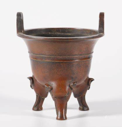 Three Piget-Shape Footed Copper Censer in Color Red from Qing Dynasty