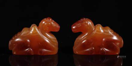 A Pair of Agate Ornament in Camel form from Qing Dynasty