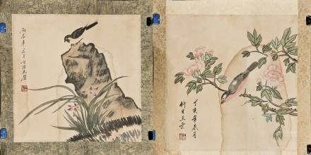 TWO PIECES OF FLORAL AND BIRD MOTIF SQUARE PAINTING