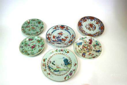 A collection of 18th century and later Chinese porcelain plates