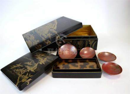 A selection of Japanese lacquer ware