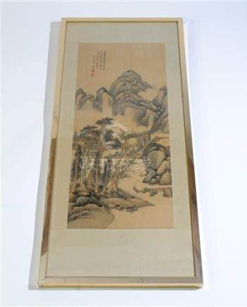 A Chinese painting and calligraphy on silk