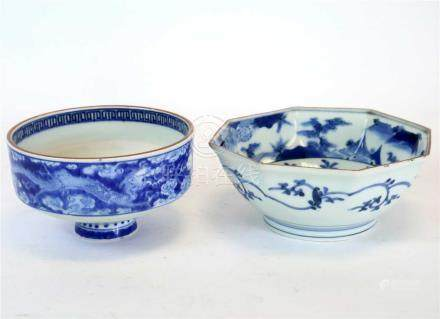 Two 19th century Japanese blue and white bowls
