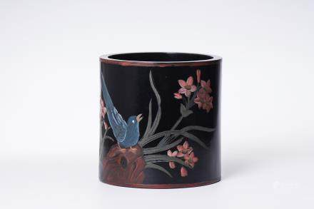 A Chinese Carved Rosewood Brush Pot