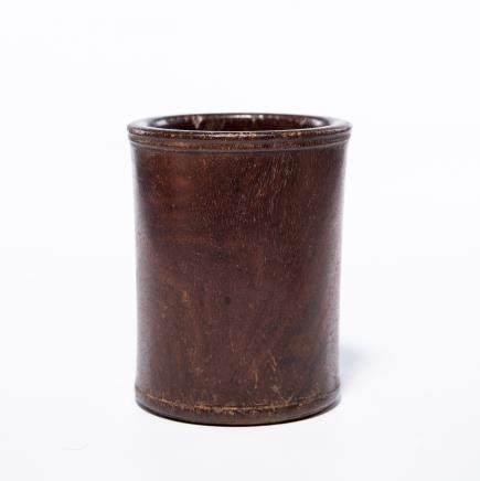 A Chinese Carved Boxwood Brush Pot