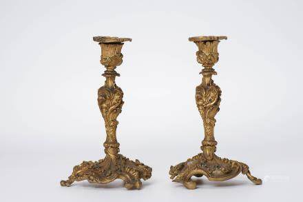 A Pair of Chinese Gilt Bronze Candle Holders