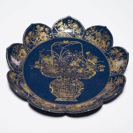 A Chinese Blue Ground Porcelain Plate with Golden Pattern