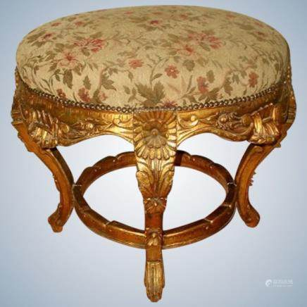 French Large Stool Gilt Original Mohair 19 Century