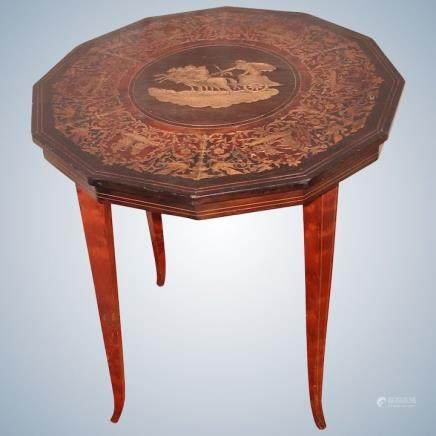 Italian Inlaid Side Table Early 1900's
