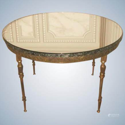 Neoclassical Italian Bronze Coffee Table Marble Top & Mirrored Top