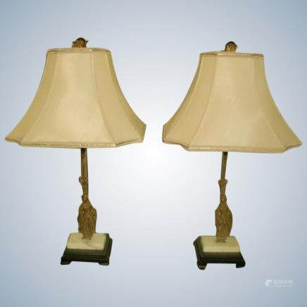 Bronze Girandole Lamps France Marble Early 1900's