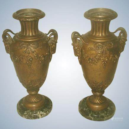 Pair Italian Bronze Urns 19th C Marble Base