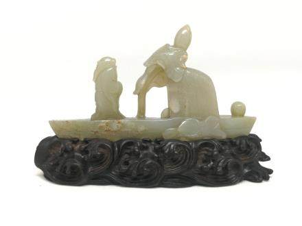 A JADE CARVED ORNAMENT OF FISHERMAN, MING DYANSTY