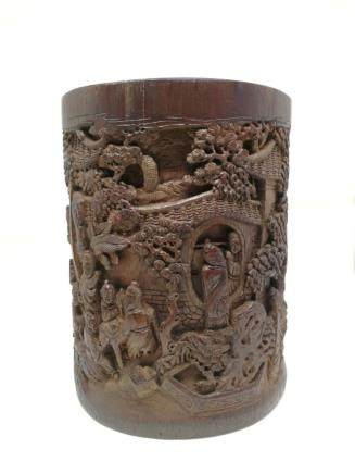 A BAMBOO CRAVED BRUSH POT, QING DYNASTY