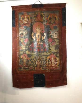 A TANGKA OF SEVEN BUDDHAS, QING DYNASTY