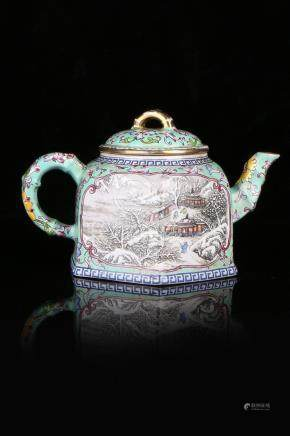 A ENAMELLED YIXING TEAPOT AND COVER.ANTIQUE