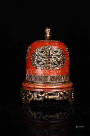 A RED-GLAZED GILT-DECORATED CENSER.MARK OF QIANLONG