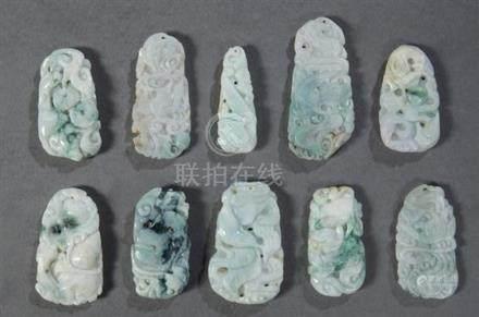 Group of Ten Chinese Carved Jade/Jadeite Pendants, 20th c.,