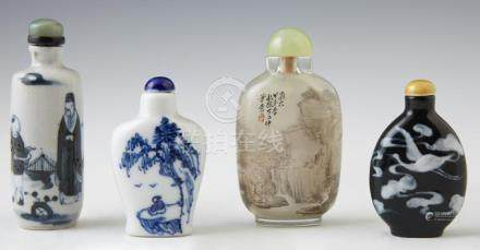 Group of Four Chinese Snuff Bottles, late 19th c., consistin