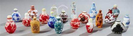 Group of Twenty Chinese Snuff Bottles, 20th c., consisting o