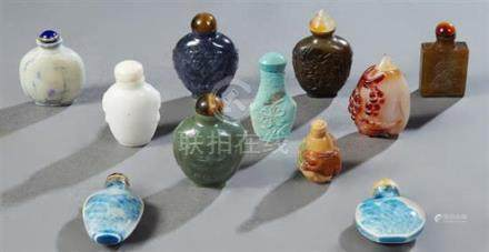 Group of Eleven Chinese Snuff Bottles, 20th c., consisting o