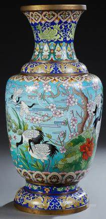 Large Chinese Cloisonne Baluster Vase, 20th c., with dragon,