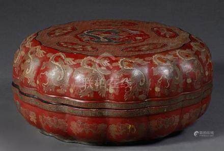 Large Chinese Red Lacquer Covered Box, 19th c., with dragon