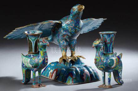 Group of Three Chinese Cloisonne Bird Figures, 20th c., cons