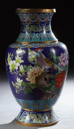 Large Chinese Cloisonne Baluster Vase, 20th c., with butterf