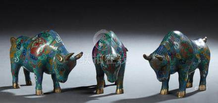 Group of Three Chinese Cloisonne Bull Figures, 20th c., with