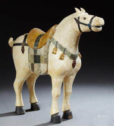 Large Chinese Segmented Bone Overlaid Caparisoned Horse Figu