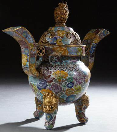 Large Chinese Cloisonne Censer, 20th c., with floral decorat