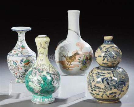 Group of Four Chinese Porcelain Baluster Vases, 20th c., one