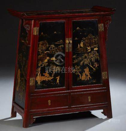 Chinese Carved Mahogany Altar Cabinet, 20th c., with double