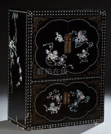 Chinese Mother of Pearl Inlaid Black Lacquer Cabinet, 20th c