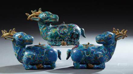 Group of Three Chinese Cloisonne Deer Form Incense Burners,