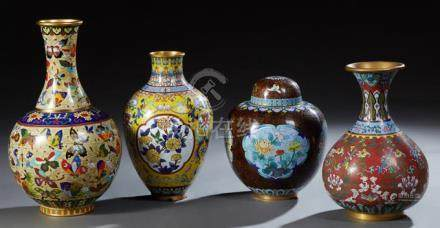 Group of Four Pieces of Chinese Cloisonne, 20th c., consisti