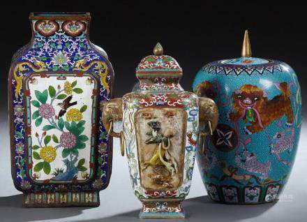 Group of Three Chinese Cloisonne Pieces, 20th c., consisting
