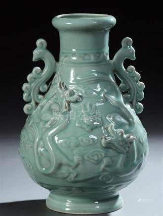 Large Chinese Celadon Baluster Vase, 20th c., with applied b