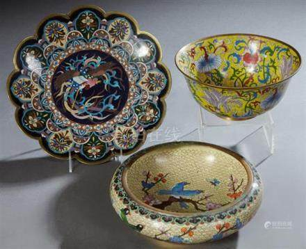 Three Pieces of Chinese Cloisonne, 20th c., consisting of a