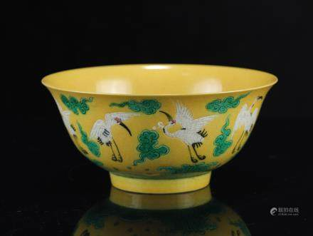 A Chinese Yellow-Ground San-Cai Porcelain Bowl